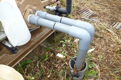 井戸ポンプ配管 引上げ作業
