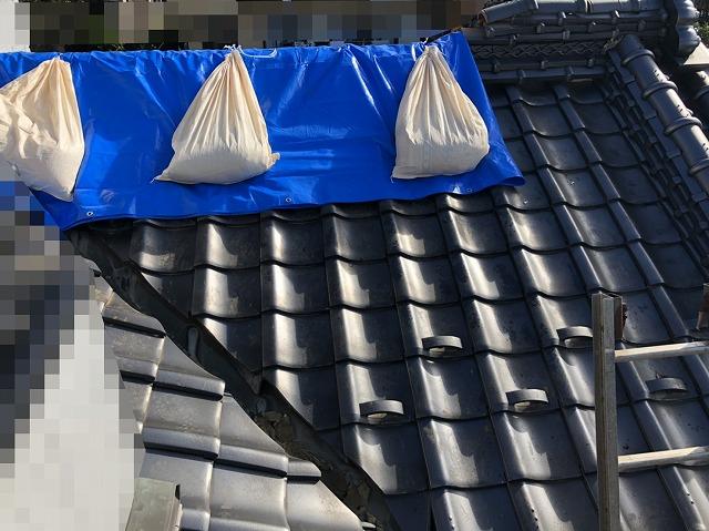屋根に雨漏り対策のブルーシート設置 完了